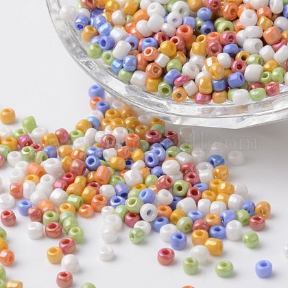 8/0 Opaque Colors Rainbow Plated Round Glass Seed BeadsSEED-K003-3mm-M02-1
