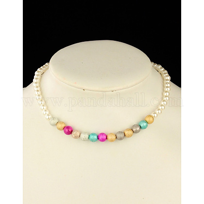 Fashion Imitation Acrylic Pearl Stretchy Necklaces for KidsNJEW-JN00425-01-1