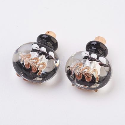 Colgantes de botellas de perfume de lampwork hecho a mano de plataFOIL-P001-A06-1