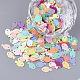 Accesorios del ornamento, paillette plástico pvc / cuentas de lentejuelas, pescado, color mezclado, 8x5x0.4mm, agujero: 0.8 mm; aproximamente 600 unidades / bolsa