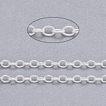 Brass Cable Chains, Unwelded, Oval, Cadmium Free & Nickel Free & Lead Free, Silver Color Plated, 2x1.5x0.5mm