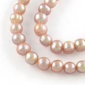 Hebras de perlas de agua dulce cultivadas naturales, redondo, ciruela, 8~9mm, agujero: 0.8 mm; aproximamente 49~50 unidades / cadena, 14.9 pulgada