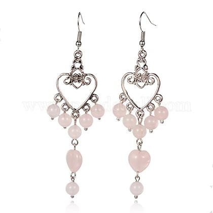 Heart Tibetan Style Alloy Natural Rose Quartz Chandelier EarringsEJEW-JE01882-01-1