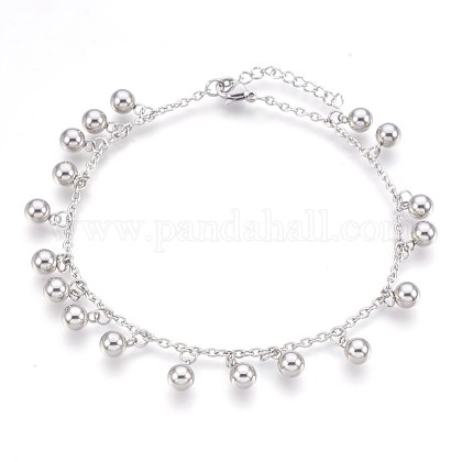 304 Stainless Steel Charm AnkletsAJEW-P069-06P-1