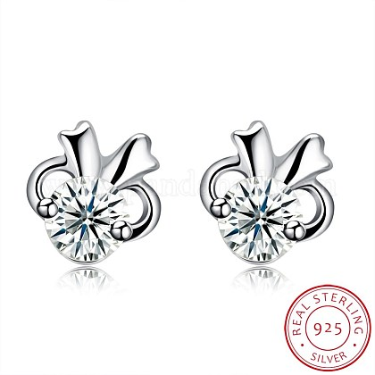 Exquisite 925 Sterling Silver Cubic Zirconia Stud EarringsEJEW-BB20133-1