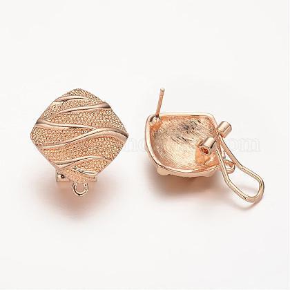 Rhombus Alloy Stud Earring FindingsPALLOY-E425-06KCG-1