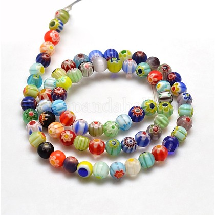 Round Millefiori Glass Beads Strands LK-P001-21A-1