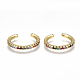 Brass Micro Pave Cubic Zirconia(Random Mixed Color) Cuff Earrings EJEW-S201-55-1