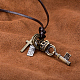 Adjustable Men's Zinc Alloy Pendant and Leather Cord Lariat NecklacesNJEW-BB15995-B-5