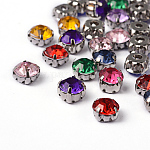 Sew on Rhinestone, Multi-strand Links, Acrylic Rhinestone, with Brass Prong Settings, Garments Accessories, Mixed Color, 5x5x4mm, Hole: 1~1.5mm