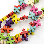 Natural Howlite Beads Strands, Dyed, Greek Cross, Mixed Color, 14x14x5mm, Hole: 1mm; about 26pcs/strand, 14.17inches