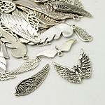 Сплавочные подвески тибетского стиля, крыло, античное серебро, 16~55x5~30x2~4.5 мм, отверстие : 1~4 мм