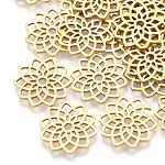 201 Stainless Steel Filigree Joiners Links, Laser Cut Links, Flower, Golden, 16.5x16x1mm