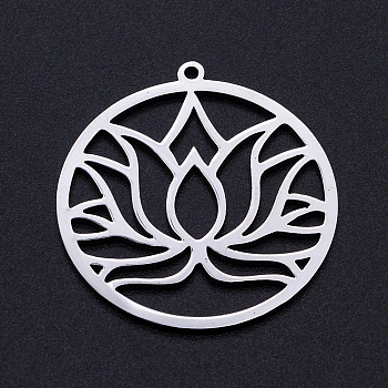 Pendentifs en 201 acier inoxydable, accessoires de estampes filigrane, pour chakra, Coupe au laser, bague ronde avec fleur de lotus, couleur inoxydable, 32x29.5x1mm, Trou: 1.5mm