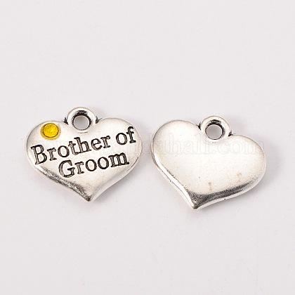 La fuente del partido de la boda de plata antigua rhinestone aleación de corazón tallado hermano palabra de los charms de la familia de la boda el novioX-TIBEP-N005-26C-1