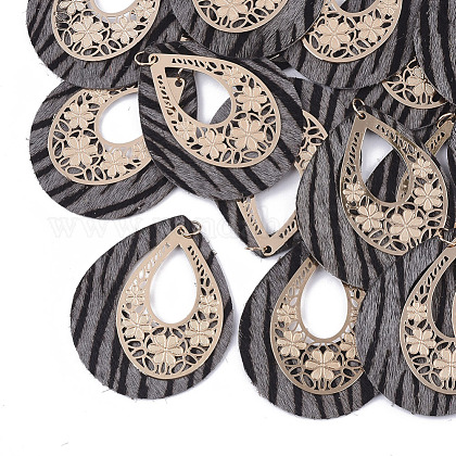 Environmental Cowhide Leather  with Alloy Pendants FIND-N049-06A-1