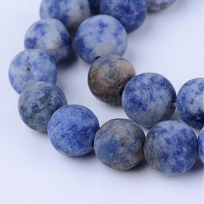 Perles de jaspe tache bleue naturelleG-Q462-6mm-06-1