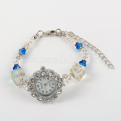 Flower Alloy Rhinestone Electronic Bracelet WatchesBJEW-JB01744-01-1