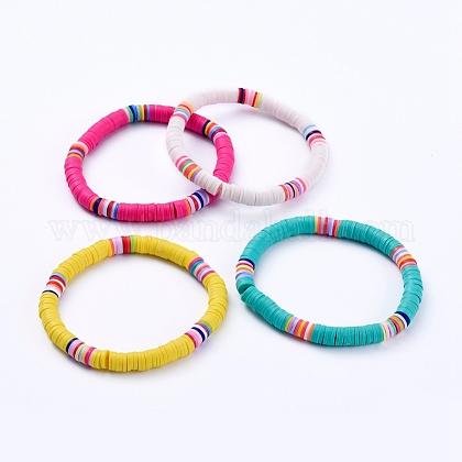 Handmade Polymer Clay Heishi Beads Stretch BraceletsBJEW-JB05087-1