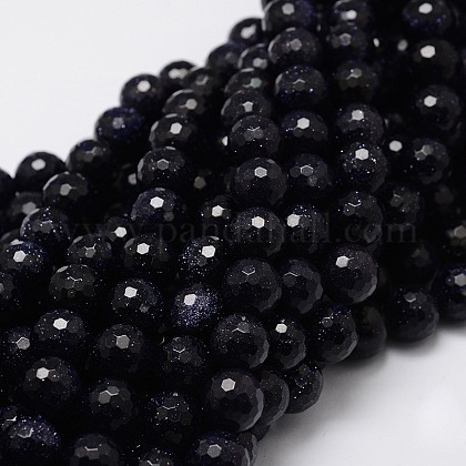 Synthetic Blue Goldstone Beads Strands G-UK0001-08F-10mm-1