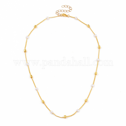 Brass Handmade Beaded Chain Necklaces, Curb Chains, Plastic Imitation Pearl 304 Stainless Steel Lobster Claw Clasps, Cube, Golden, 16.33 inches(41.5cm) NJEW-JN02946
