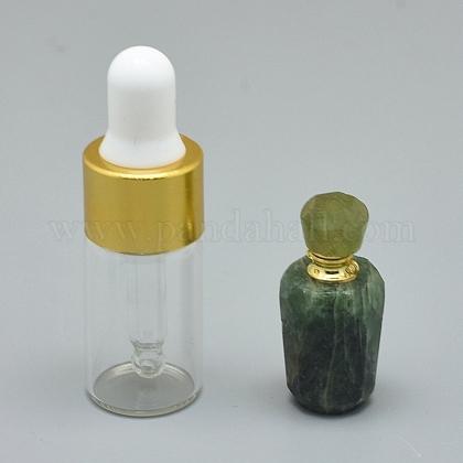 Colgantes de botella de perfume que se pueden abrir prehnita naturalG-E556-02E-1
