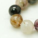 Natural Tourmaline Beads strands, Round, 4mm, Hole: 1mm; 45pcs/strand, 7.5