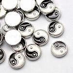 Кабошоны сплава типа эмали, Плавающие подвески, diy для плавающих медальонов, Инь-Ян, платина, черные и белые, 8x2 мм