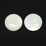 Half Round/Dome Freshwater Shell Cabochon, White, 20x3~4mm