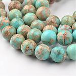 Brins de perles de jaspe impérial naturel, ronde, teinte, bleu clair, 6mm, trou: 1mm; environ 62 pcs/chapelet, 15