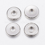 304 Stainless Steel Beads, Flat Round, Stainless Steel Color, 6x1mm, Hole: 2mm