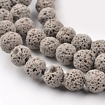 Synthetic Lava Round Beads Strands, Dyed, Gray, 8mm, Hole: 1mm; about 50pcs/strand, 15.7