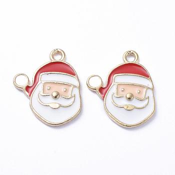 Plateados de oro colgantes de esmalte de aleación, para la Navidad, santa claus, blanco, 16x14x1mm, agujero: 1 mm