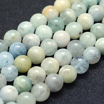 Natural Aquamarine Beads Strands, Grade AB-, Round, 8mm, Hole: 1mm; about 49pcs/strand, 15.5''(39.5cm)