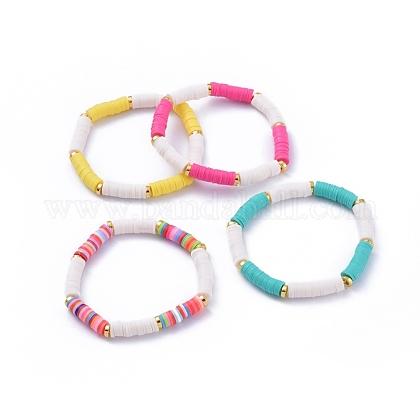 Handmade Polymer Clay Heishi Beads Stretch BraceletsBJEW-JB05091-1