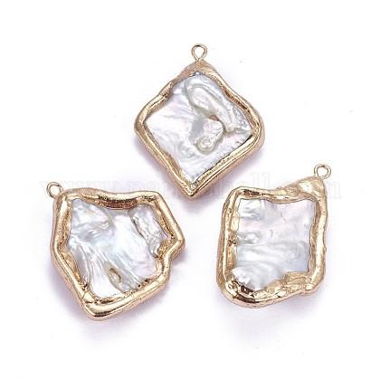 Colgantes de perlas keshi de perlas barrocas naturales electrochapadasPEAR-F010-01G-1