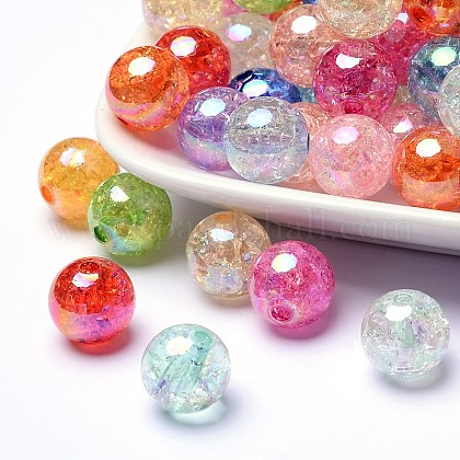 Bubblegum AB Color Transparent Crackle Acrylic Round Beads CACR-R011-10mm-M-1