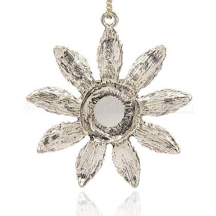 アンティーク銀合金猫の目の花の大きなペンダントメッキPALLOY-J225-01AS-1