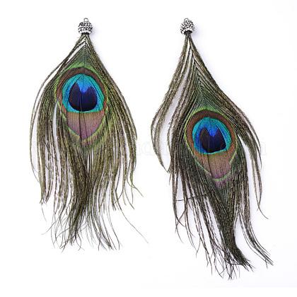 Colgantes de plumas de pavo realRB-T002-05-1