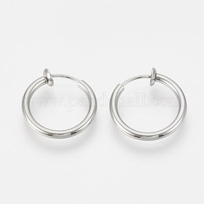 304 Stainless Steel Retractable Clip-on Hoop EarringsSTAS-S100-01-1