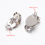 Brass Clip-on Earring Settings, Platinum, 17x10x7mm, Tray: 10mm; Hole: 1.2mm and 2.9mm