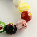 Round Handmade Millefiori Glass Beads Strands, Mixed Color, 8mm, Hole: 1mm; about 48pcs/strand, 14.5