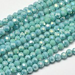 Faceted Round Full Rainbow Plated Electroplate Glass Beads Strands, Turquoise, 4mm, Hole: 1mm; about 100pcs/strand, 14.9