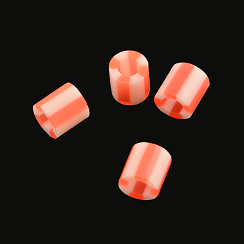 PE DIY Melty Beads Fuse Beads Refills, Column, Orange Red, 5x5mm, Hole: 3mm