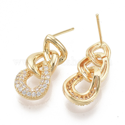 Brass Micro Pave Cubic Zirconia Stud Earring Findings ZIRC-D116-08-1