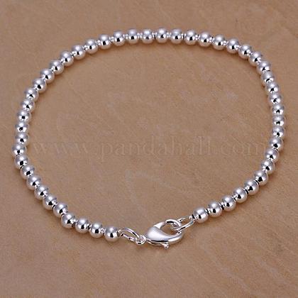 Pulseras de cadena de bola de latón de 4 mm para las mujeresBJEW-BB12561-1