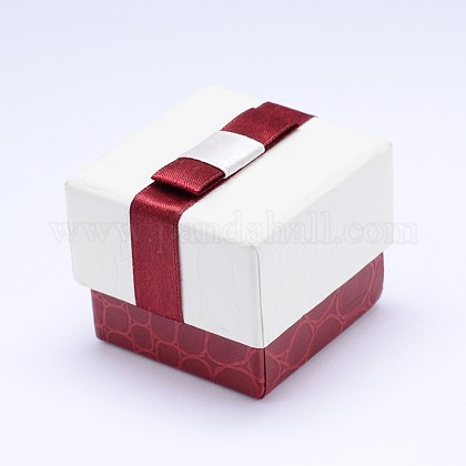 Rectangle Cardboard Ring Boxes with Black Velvet inside & Bowknot CBOX-N006-02-1