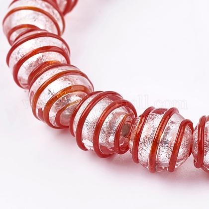 手作りの銀箔ガラスランプワークビーズFOIL-G027-01G-1