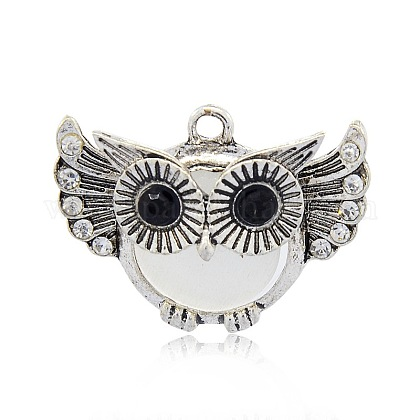Antique Silver Tone Alloy Cat Eye Owl Pendants for Halloween PALLOY-J419-01AS-1