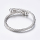 304 Stainless Steel Torque Bangles BJEW-G584-38P-1